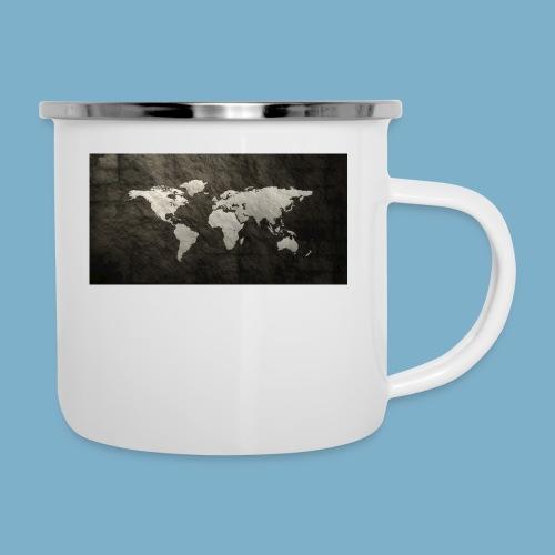 Weltkarte - Emaille-Tasse