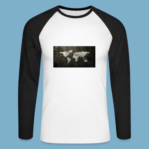 Weltkarte - Männer Baseballshirt langarm