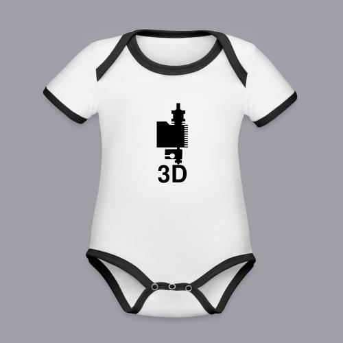 3D Druckkopf in schwarz - Baby Bio-Kurzarm-Kontrastbody