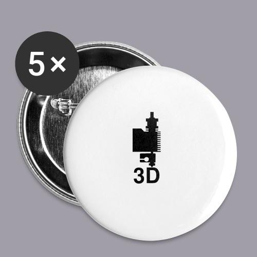 3D Druckkopf in schwarz - Buttons mittel 32 mm (5er Pack)