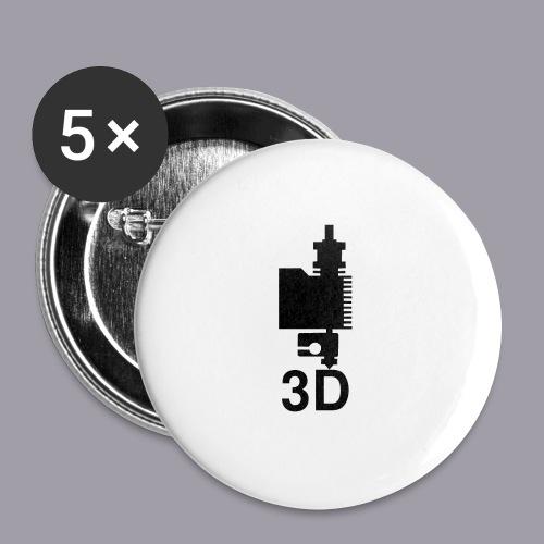 3D Druckkopf in schwarz - Buttons klein 25 mm (5er Pack)