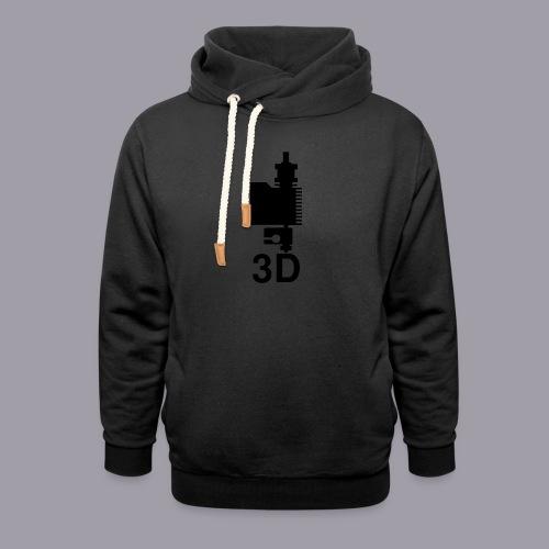 3D Druckkopf in schwarz - Schalkragen Hoodie
