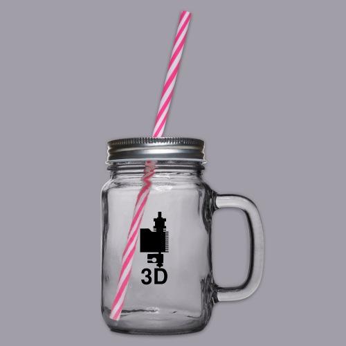 3D Druckkopf in schwarz - Henkelglas mit Schraubdeckel