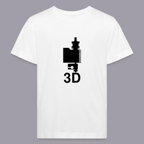 3D Druckkopf in schwarz - Kinder Bio-T-Shirt