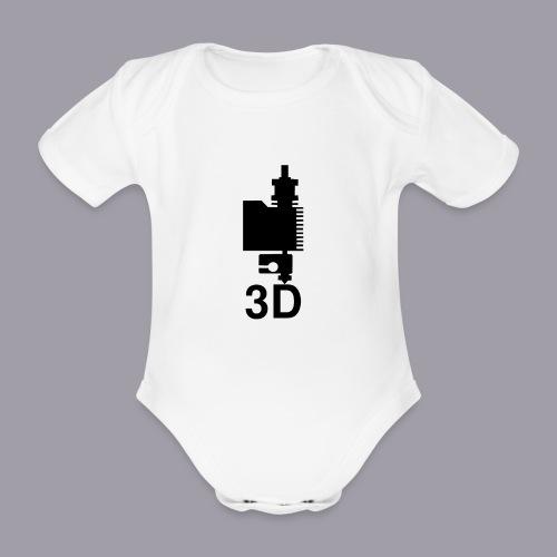 3D Druckkopf in schwarz - Baby Bio-Kurzarm-Body