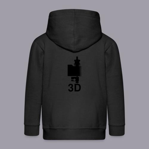 3D Druckkopf in schwarz - Kinder Premium Kapuzenjacke