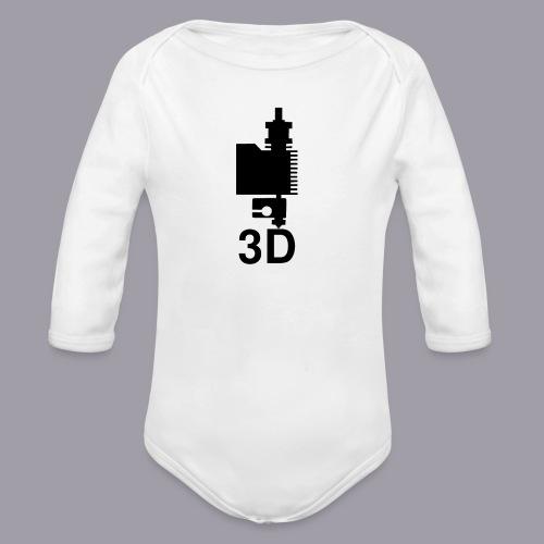 3D Druckkopf in schwarz - Baby Bio-Langarm-Body