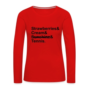 Strawberries and Cream. Ladies V-neck T-shirt. Colour Choice. - Women's Premium Longsleeve Shirt