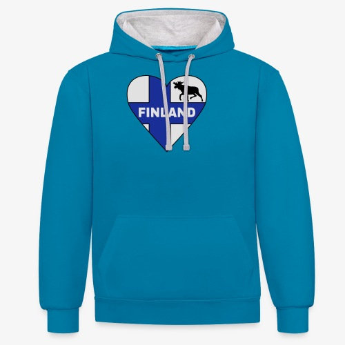 Finnland Flagge Herz T-Shirts - Kontrast-Hoodie