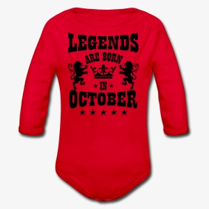 Legends are born in October Lions Crown T-Shirt - Baby Bio-Langarm-Body