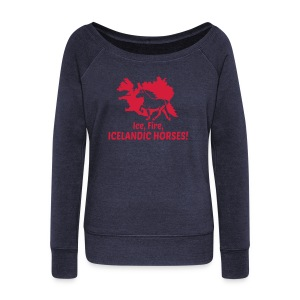 Ice, Fire, Icelandic Horses - Women's Boat Neck Long Sleeve Top
