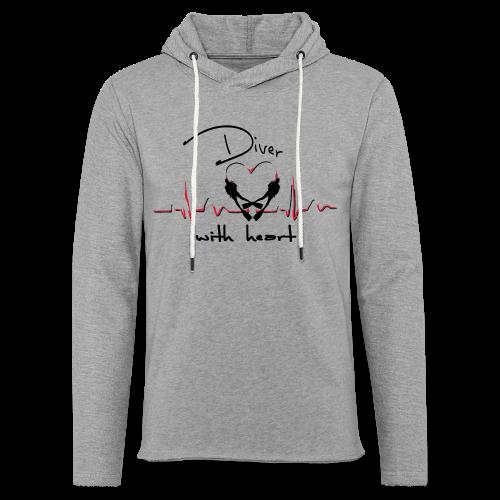 Diver with heart - Leichtes Kapuzensweatshirt Unisex