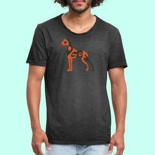 Männer Vintage T-Shirt - Doggenstatur,Doggensilhouette,Doggenshirt,Doggenhaus,Doggenfigur,Dogge