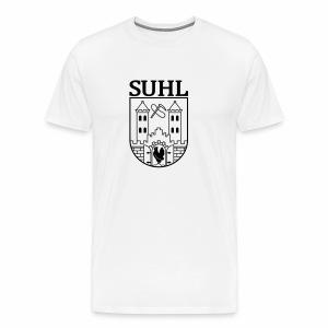 Suhl Wappen mit Schrift (schwarz) - Männer Premium T-Shirt