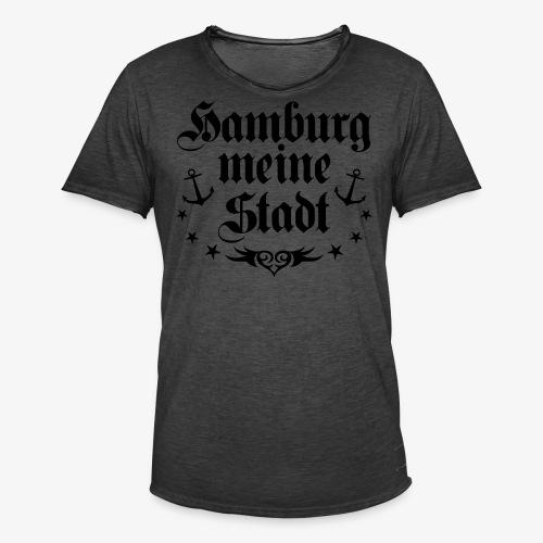 HAMBURG meine Stadt Anker Tattoo Männer T-Shirt schwarz - Männer Vintage T-Shirt