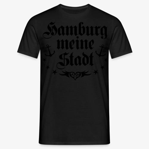 HAMBURG meine Stadt Anker Tattoo Männer T-Shirt schwarz - Männer T-Shirt