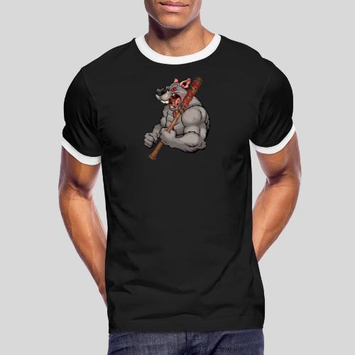 Ratte mit Baseballschläger - Männer Kontrast-T-Shirt