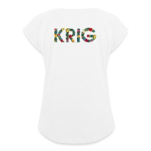 Blomstrende krig - T-skjorte med rulleermer for kvinner