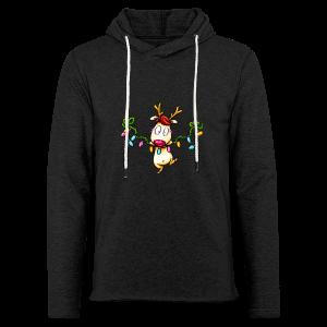 cloth bag reindeer on a chain of lights - Leichtes Kapuzensweatshirt Unisex
