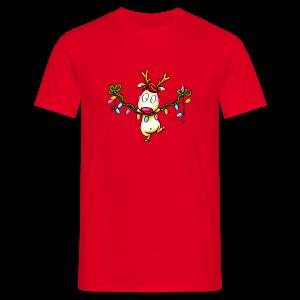cloth bag reindeer on a chain of lights - Männer T-Shirt