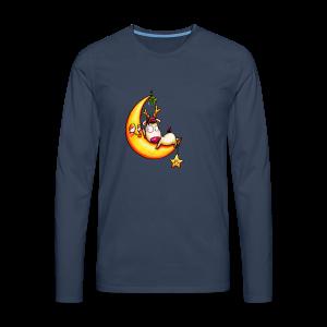 cloth bag reindeer on the moon - Männer Premium Langarmshirt
