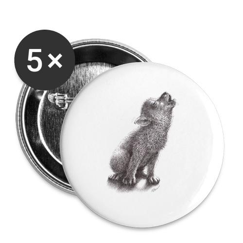 Junger heulender Wolf  T-shirt - Buttons groß 56 mm