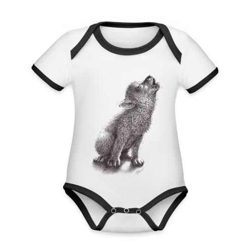 Junger heulender Wolf  T-shirt - Baby Bio-Kurzarm-Kontrastbody