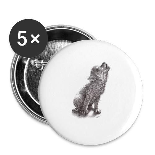 Junger heulender Wolf  T-shirt - Buttons mittel 32 mm