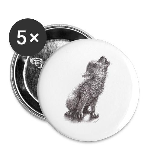 Junger heulender Wolf  T-shirt - Buttons klein 25 mm