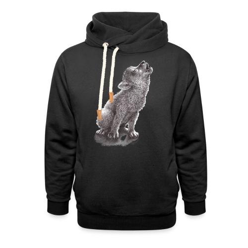 Junger heulender Wolf  T-shirt - Schalkragen Hoodie
