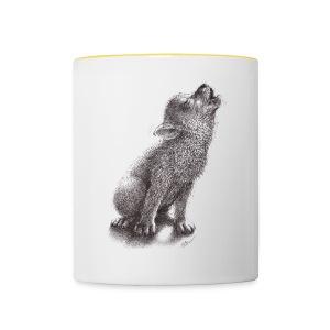 Junger heulender Wolf  T-shirt - Tasse zweifarbig