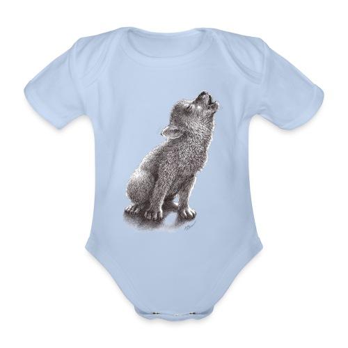 Junger heulender Wolf  T-shirt - Baby Bio-Kurzarm-Body