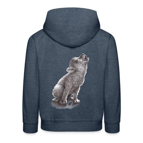 Junger heulender Wolf  T-shirt - Kinder Premium Hoodie