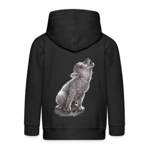 Junger heulender Wolf  T-shirt - Kinder Premium Kapuzenjacke