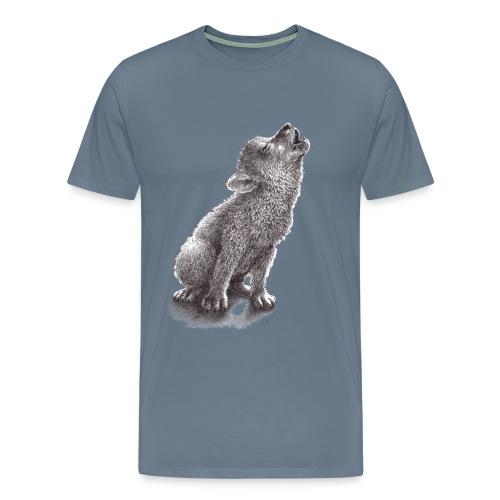 Junger heulender Wolf  T-shirt - Männer Premium T-Shirt
