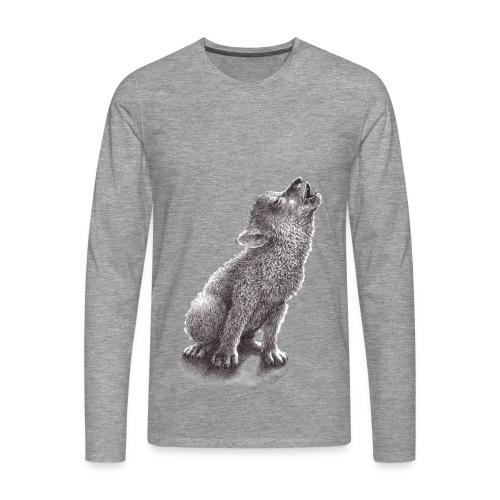Junger heulender Wolf  T-shirt - Männer Premium Langarmshirt