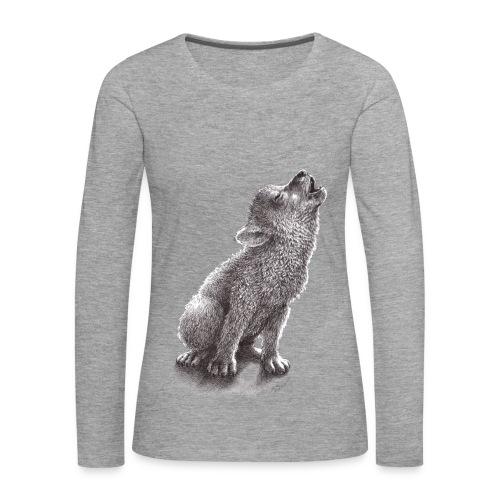Junger heulender Wolf  T-shirt - Frauen Premium Langarmshirt