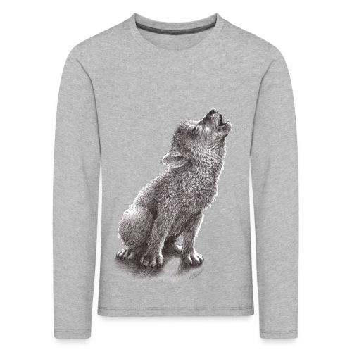 Junger heulender Wolf  T-shirt - Kinder Premium Langarmshirt