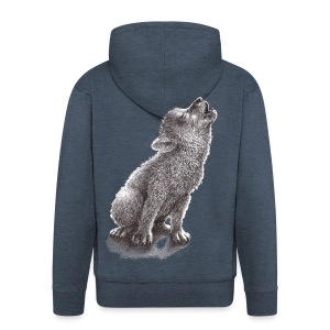 Junger heulender Wolf  T-shirt - Männer Premium Kapuzenjacke