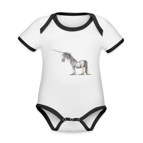 Einhorn t-shirt, Das allerletzte Einhorn - Baby Bio-Kurzarm-Kontrastbody