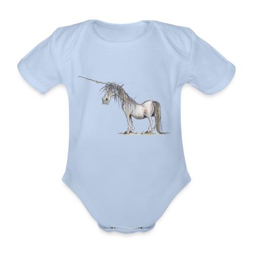Einhorn t-shirt, Das allerletzte Einhorn - Baby Bio-Kurzarm-Body