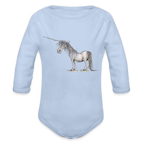 Einhorn t-shirt, Das allerletzte Einhorn - Baby Bio-Langarm-Body