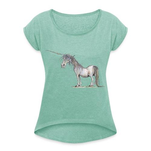 Einhorn t-shirt, Das allerletzte Einhorn - Frauen T-Shirt mit gerollten Ärmeln