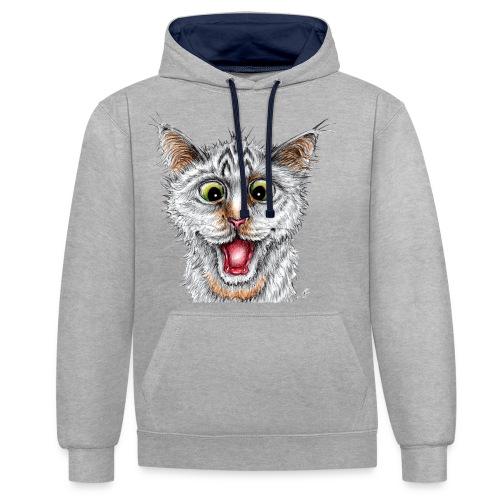 Lustige Katze - T-shirt - Happy Cat - Kontrast-Hoodie