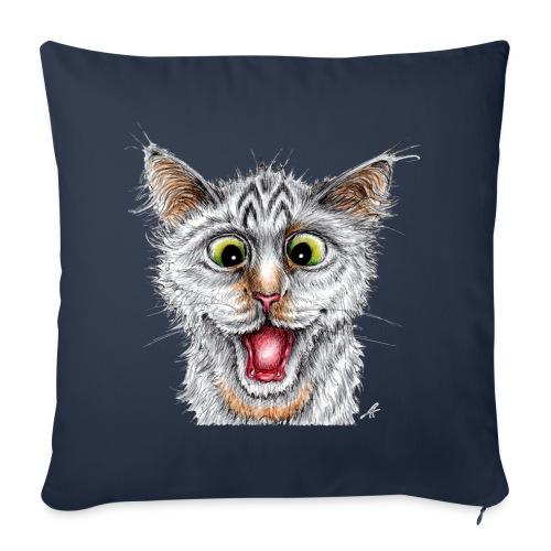 Lustige Katze - T-shirt - Happy Cat - Sofakissenbezug 44 x 44 cm