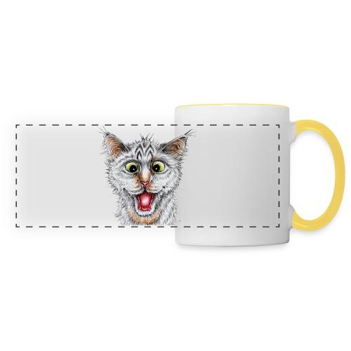 Lustige Katze - T-shirt - Happy Cat - Panoramatasse
