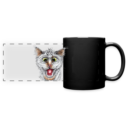 Lustige Katze - T-shirt - Happy Cat - Panoramatasse farbig