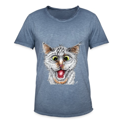Lustige Katze - T-shirt - Happy Cat - Männer Vintage T-Shirt