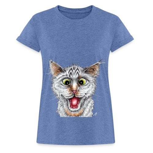 Lustige Katze - T-shirt - Happy Cat - Frauen Oversize T-Shirt