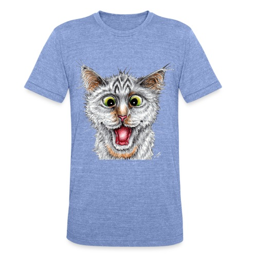 Lustige Katze - T-shirt - Happy Cat - Unisex Tri-Blend T-Shirt von Bella + Canvas
